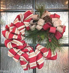 24 holiday designer burlap grapevine w pinecones wreath Designer christmas wreaths uk