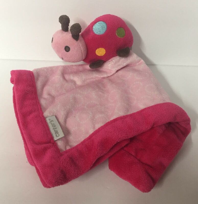 Carters Lady Bug Lovey Pink Polka Dot Baby Plush Security Blanket