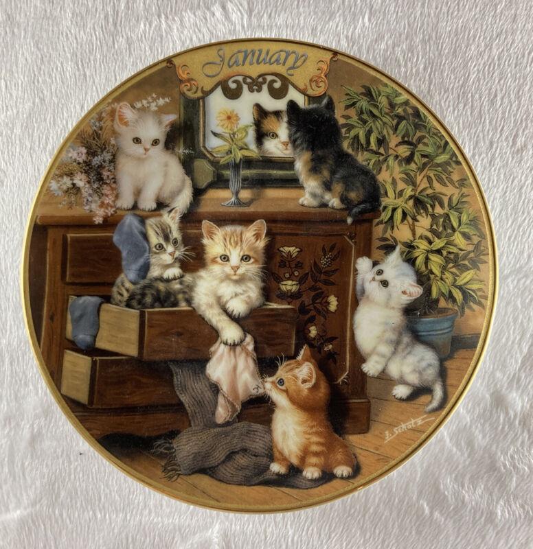 JANUARY - SWEET WHISKERS Plate Timeless Tails Purr-petual Calendar #1 Cat Kitten