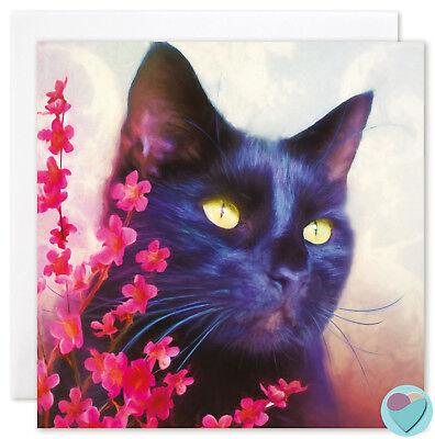 Black Cat BLANK Art Card Birthday Thank You Any Occasion Pet Portrait Print - Black Cat Birthday