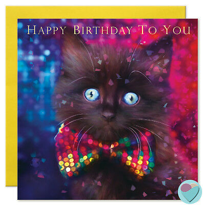 Black Cat Birthday Cards Kitten Love Special Friend or from the cat printed UK - Black Cat Birthday