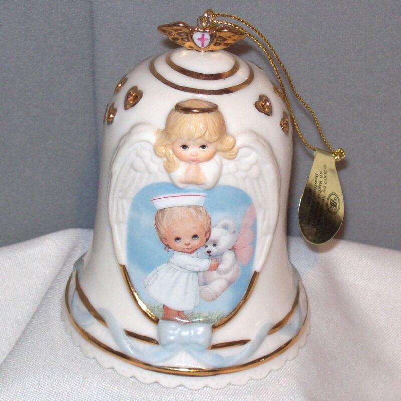 Healing Touch TENDER LOVING CARE 2002 #1 Porcelain Bell Ornament Bradford 87401