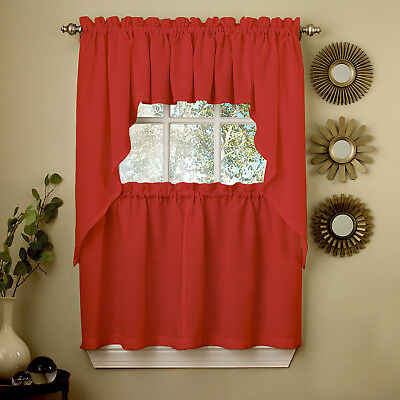 Red Opaque Solid Ribcord Kitchen Curtains Choice of Tier Valance or Swag ()
