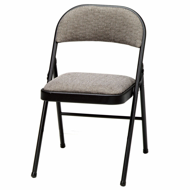 MECO Sudden Comfort Deluxe Metal Fabric Padded Folding Chair, Black (4 Pack)