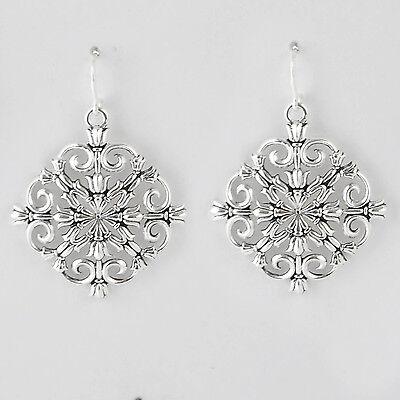 Barse Jewelry Silver Overlay Snowflake Earrings (Snowflake Overlay)