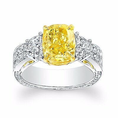 4.90 ct. Cushion Cut Diamond Fancy Intense Yellow  Engagement Ring SI2 GIA 18k