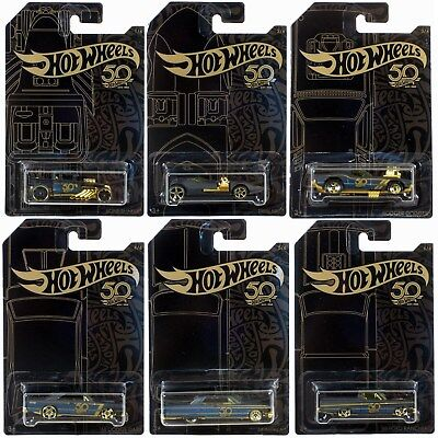 Hot Wheels 50th Anniversary Black & Gold 2018 SET OF 6 Cars!
