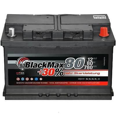 Autobatterie 12V 75Ah BlackMax Starterbatterie ersetzt 68Ah 70Ah 72Ah 74Ah 77Ah