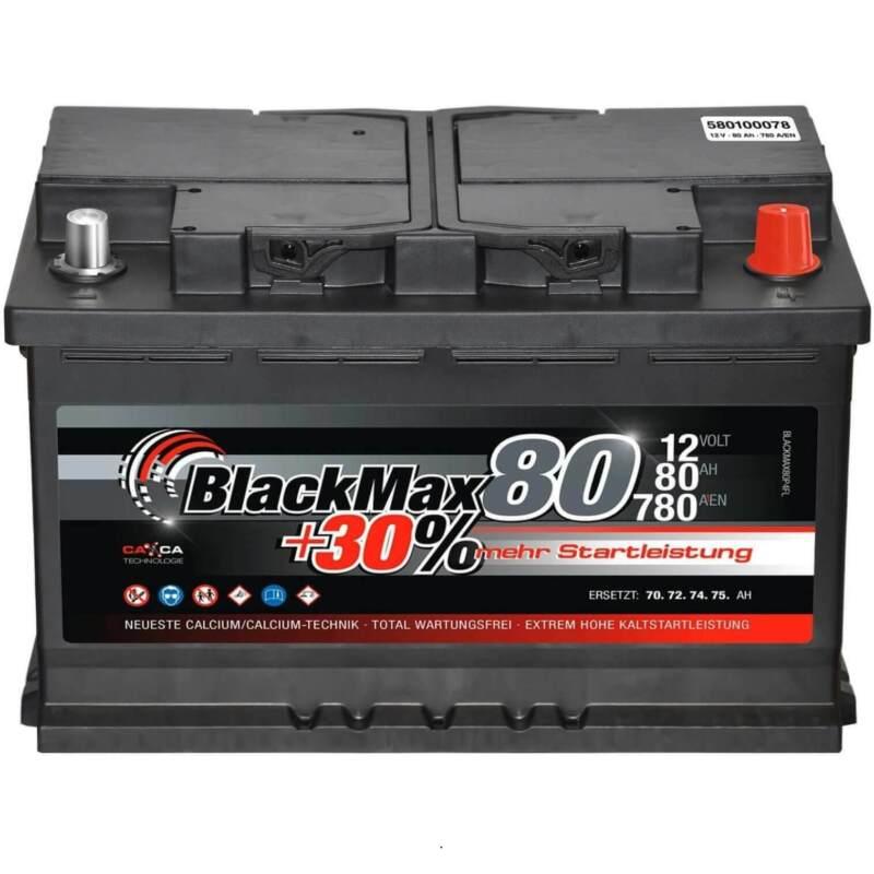 Autobatterie 12V 80Ah 780A BlackMax Starterbatterie ersetzt 72Ah 74Ah 75Ah 77Ah