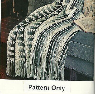 "Reversible Afghan Crochet Pattern from a magazine Checks Stripes Fringe 52""x70"""