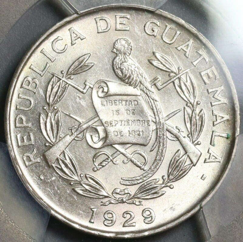 1929 PCGS MS 63 Guatemala 1/4 Quetzal Bird Silver Coin (19090503D)