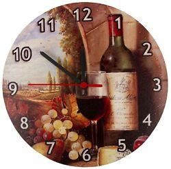 Round Analog Wall Clock Living Room Home Office Still Life Wine Bottle Pattern