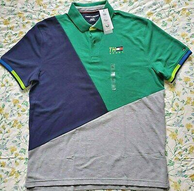 New Mens Tommy Hilfiger Sport Short Sleeve Multicolor Polo Shirt Green/Multi