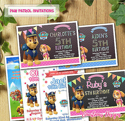 Paw Patrol Birthday Invitations Invites for Girl Boy