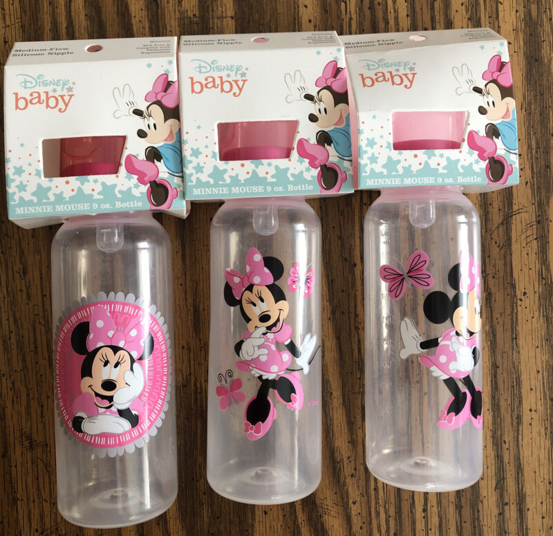 NEW 3 MINNIE MOUSE 9oz BOTTLES, Baby Bottles 3 Different Designs Medium Flow