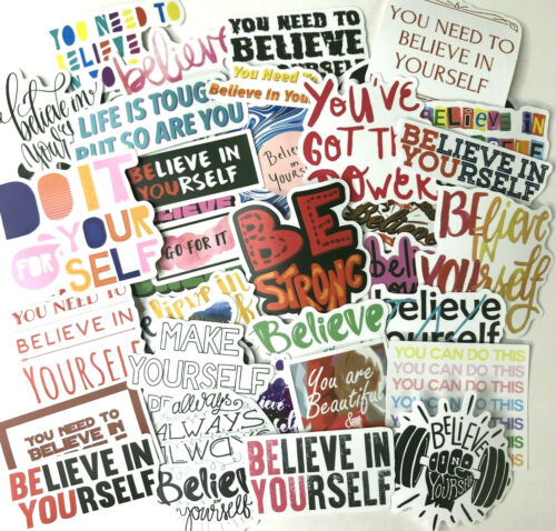 50 Piece Believe in Yourself Inspirational Positive Thinking Sticker Bomb Pack