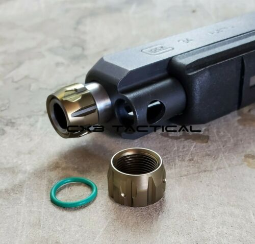 Glock Thread Protector 9mm 1/2-28 TPI Fluted Thread Protector Gold Tan Anodized