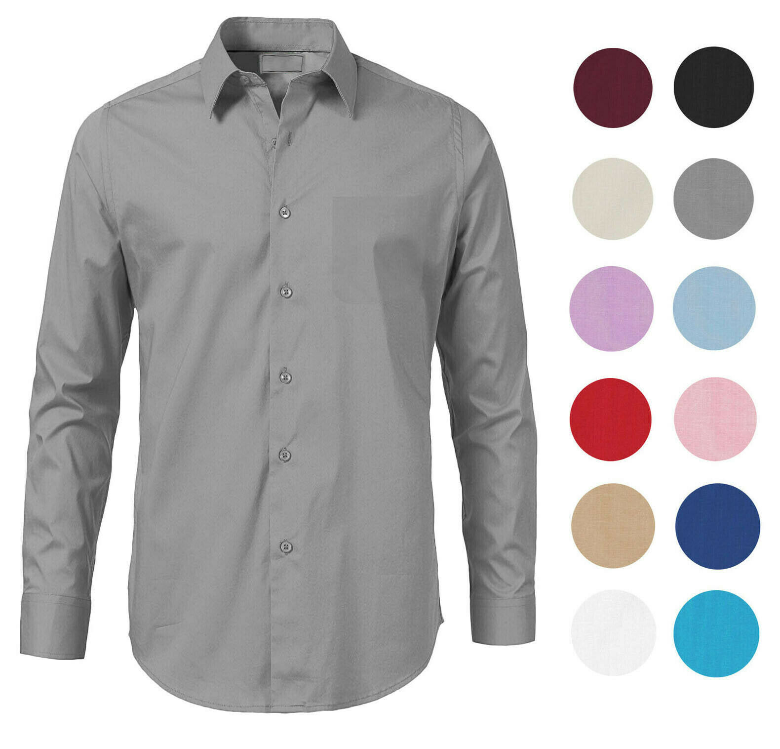 Men's Solid Long Sleeve Formal Button Up French Convertible