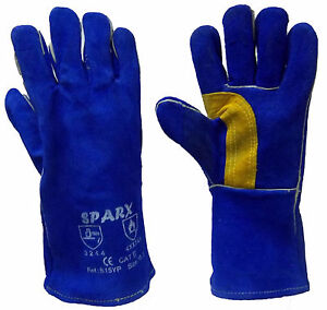 BLUE REINFORCED Palm & Thumb KEVLAR Welders / Welding Gauntlet Gloves Gauntlets