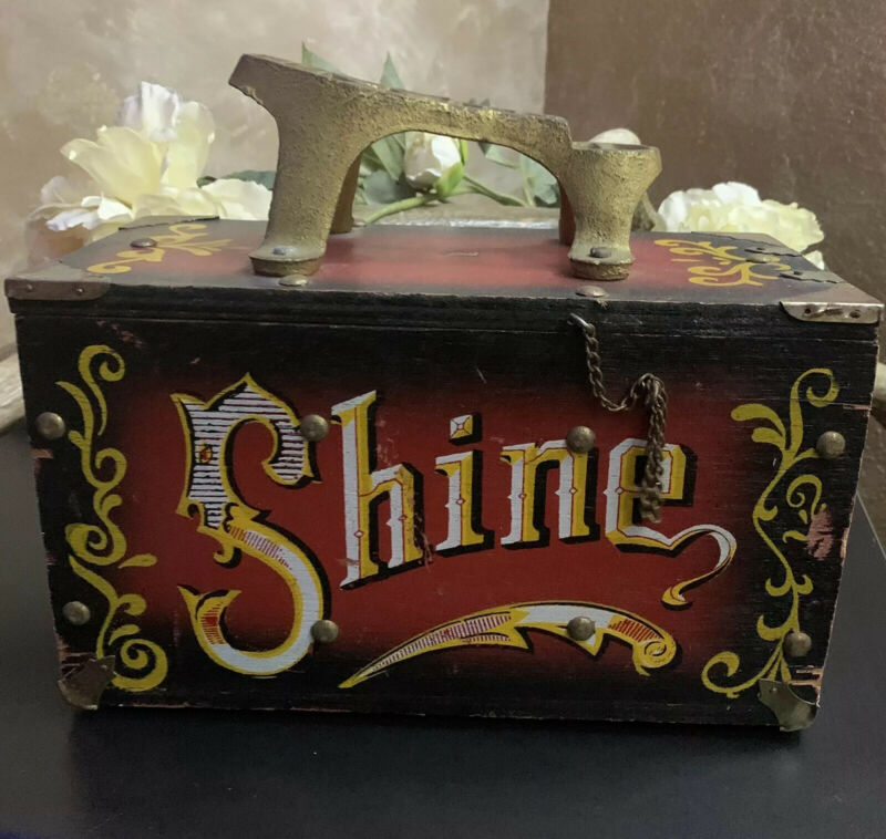 "Vintage Wood & Metal "" 5 Cent SHINE"" Shoe 👞✨Shine Box"