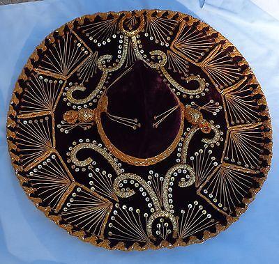 "1977 Mexican Sombrero Velvet Purple Sequin 22"" Hat Paris 1900 Roma 1898 Vintage"