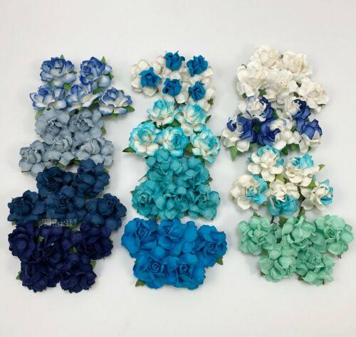"60 Mix 1-1/2"" of 12 Colors Paper Flower Wedding Scrapbook (TH/R21-Set-BlueB2)"