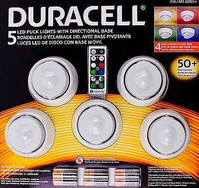 - Duracell 5 LED Puck Lights Directional Base Remote Control Wireless + Batteries
