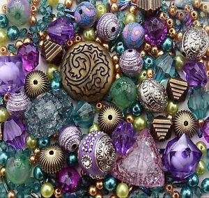 Approx-x-400-Turquoise-Purple-Green-Jewellery-Making-Beads-Mix-Starter-Kit-Set