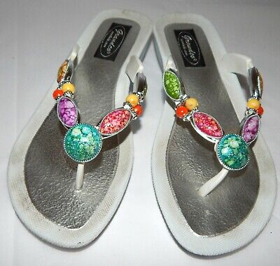 GRANDCO Rubber White Dressy Wedge Heel Color Beads Sandals Flip Flops Womens 6 - Dressy Flip Flops