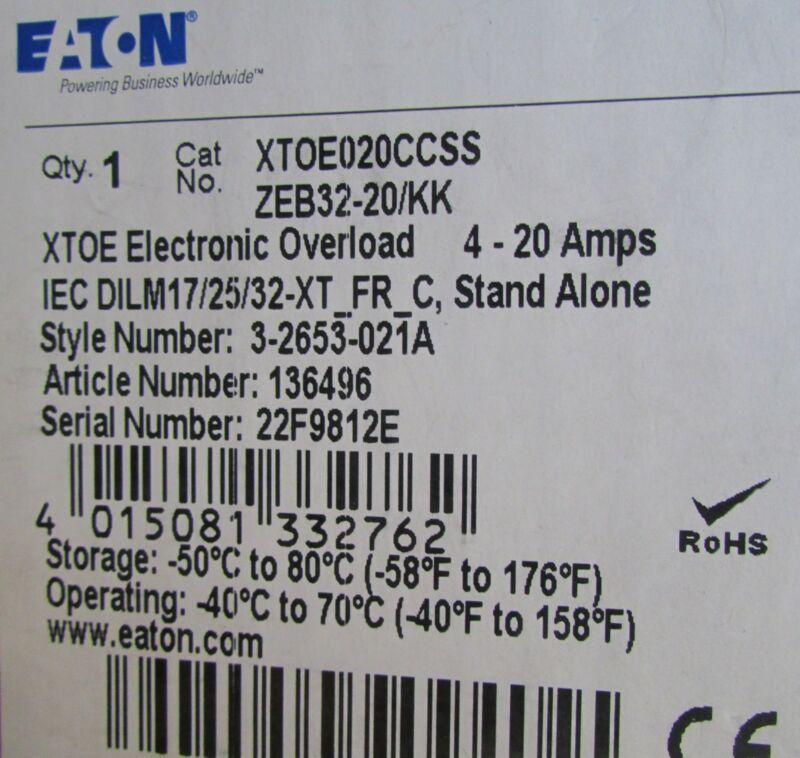 Eaton  IEC Overload Relay XTOE020CCSS ZEB32 20 KK 40-20 Amps  3 2653 021A