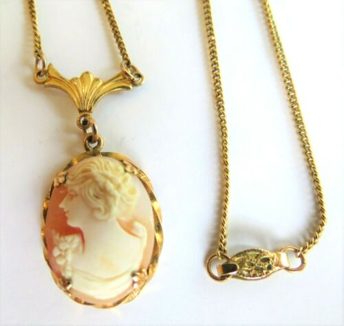 Stunning Vtg Antique Cameo Necklace Gold Filled Pendant & Chain  Signed