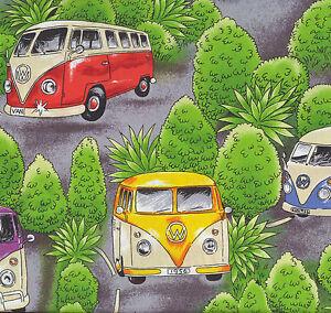 Kombi Vans Volkswagen VW Combi Car Campervans Camper Trees Hippy Fabric FQ New