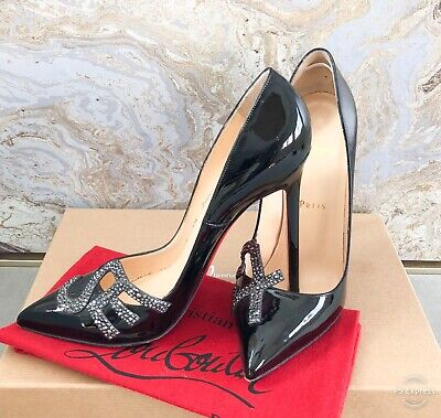Christian Louboutin Crystal Strass 'Sex' Patent Leather Pump Sz 38