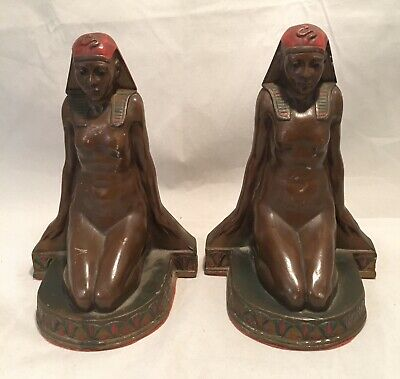 Art Deco K&O Kronheim & Oldenbusch Cleopatra Nude Egyptian Revival Bookend c1920