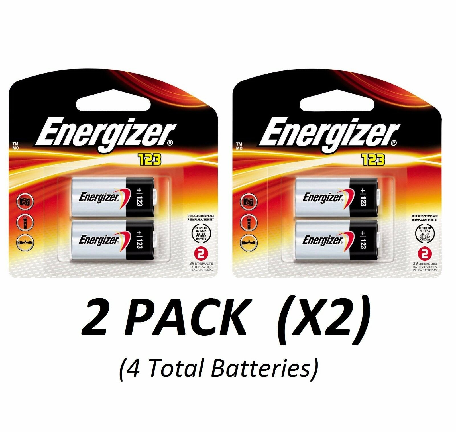 CR123A Lithium Energizer Batteries EXP 2026, 1500mAh 3V Pho