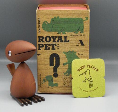 RARE vintage Japanese WOODPECKER Senshukai Royal Pet wood animal wooden 1970s !!