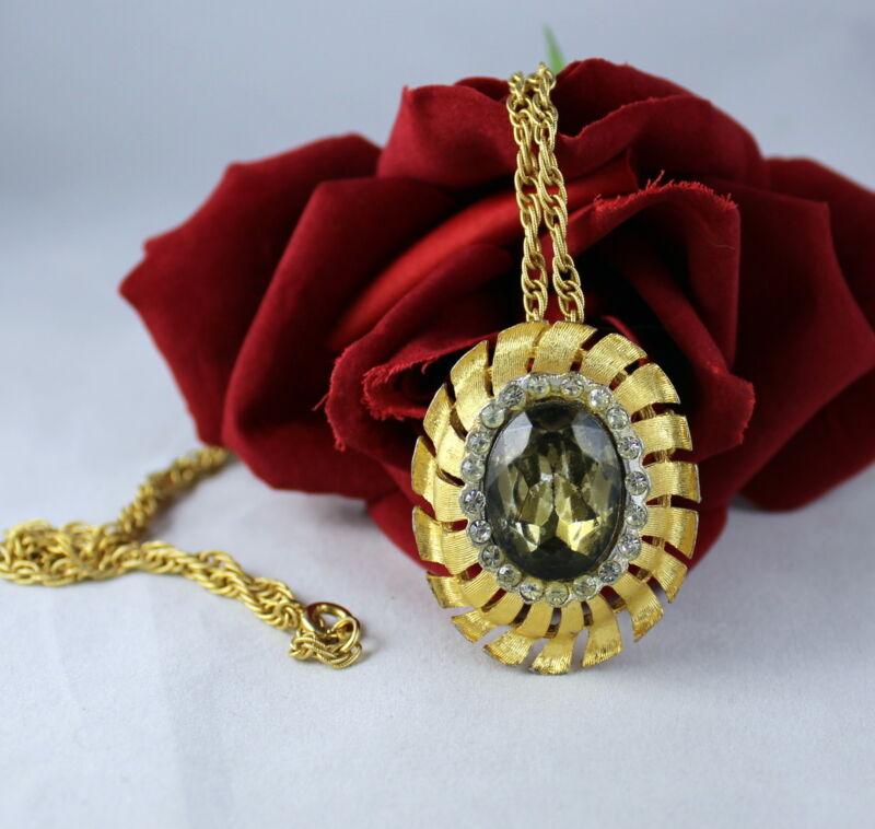 Vintage BSK Dazzling  Rhinestone Pin /  Necklace  CAT RESCUE