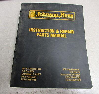 Cmi Johnson-ross Concrete Plants Instruction Repair Parts Manual