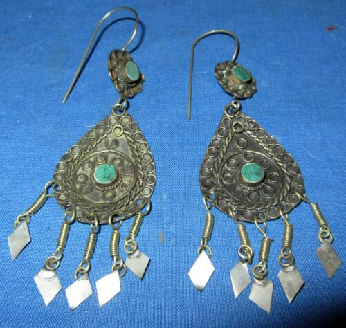 "Earrings Teardrop Gemstone Afghan Kuchi Tribal Alpaca Silver 1 1/2"""
