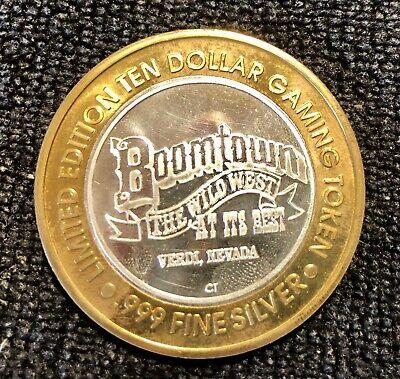 "Boomtown Hotel Casino Reno Nevada $10  .999 Silver Strike ""Stagecoach"""