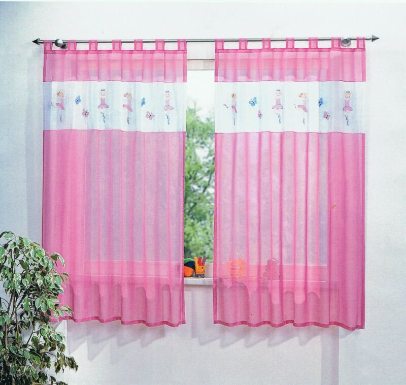 2er pack Kinderzimmer Gardine Schlaufenschal Ballerina Motiv in weiß rosa