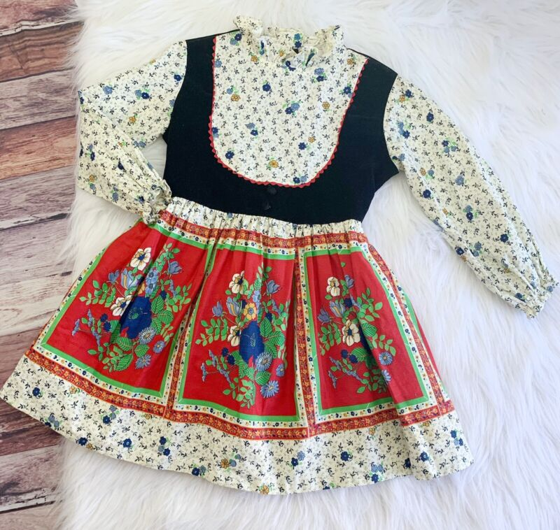 Vintage Miss Quality Floral Velvet Party Dress Fall Winter Holiday Girl's 3/4/5