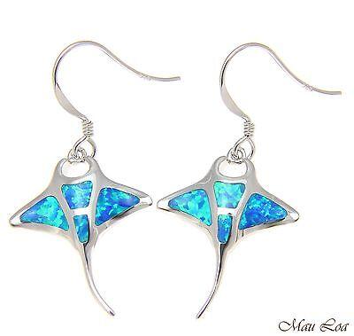 925 Sterling Silver Rhodium Hawaiian Manta Ray Fish Blue Opal Hook Wire Earrings