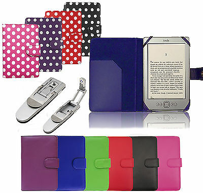LEATHER CASE COVER WALLET WITH LIGHT FOR AMAZON KINDLE 4 4TH GEN KOBO TOUCH
