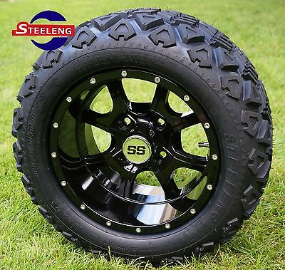 "GOLF CART 12""  BLACK NIGHT STALKER ALUMINUM WHEELS and 20"" AT TIRES (SET OF 4)"