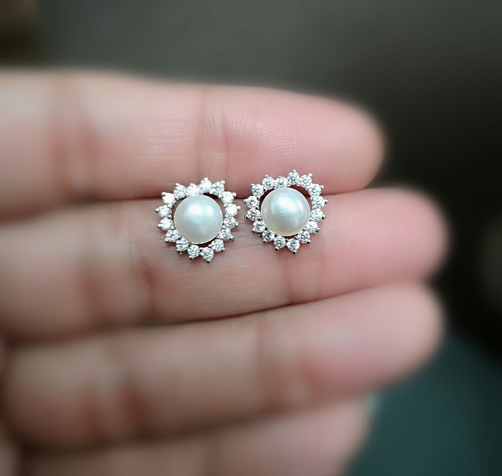 1Ct Diamond Earring with Pearl Womens Stud Earrings 14k White Gold over 1