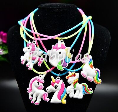 12 Unicorn Favors Necklaces Birthday Party Bag Filler Rainbow Unicornio - Birthday Favor Bags