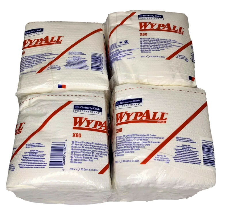 4 Packs Kimberly Clark WypAll X80 Cloths, White, 50/PK, - 41026