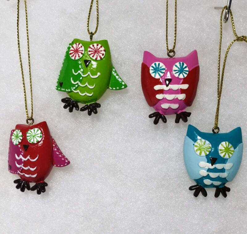 Miniature Owl Christmas Tree Ornaments