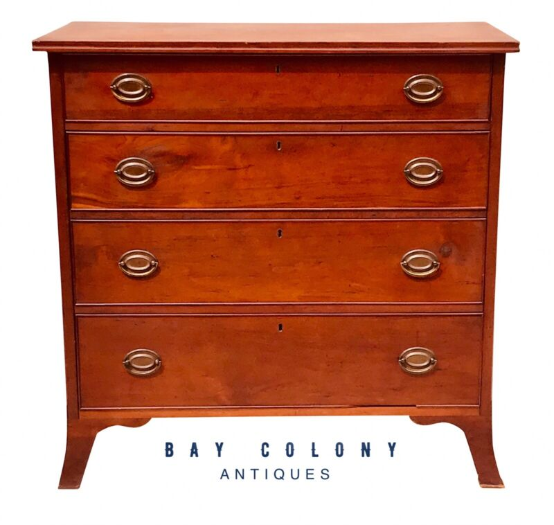 18TH C ANTIQUE PENNSYLVANIA HEPPLEWHITE CHERRY DRESSER / CHEST